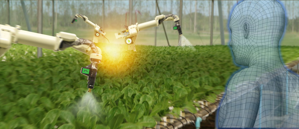 Robotic sprayers operate over indoor crops while an AI graphic watches.