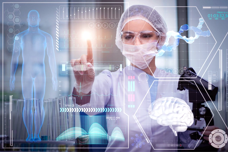 Researcher dressed in a lab coat and mask, touching virtual, holographic images of human body analytics