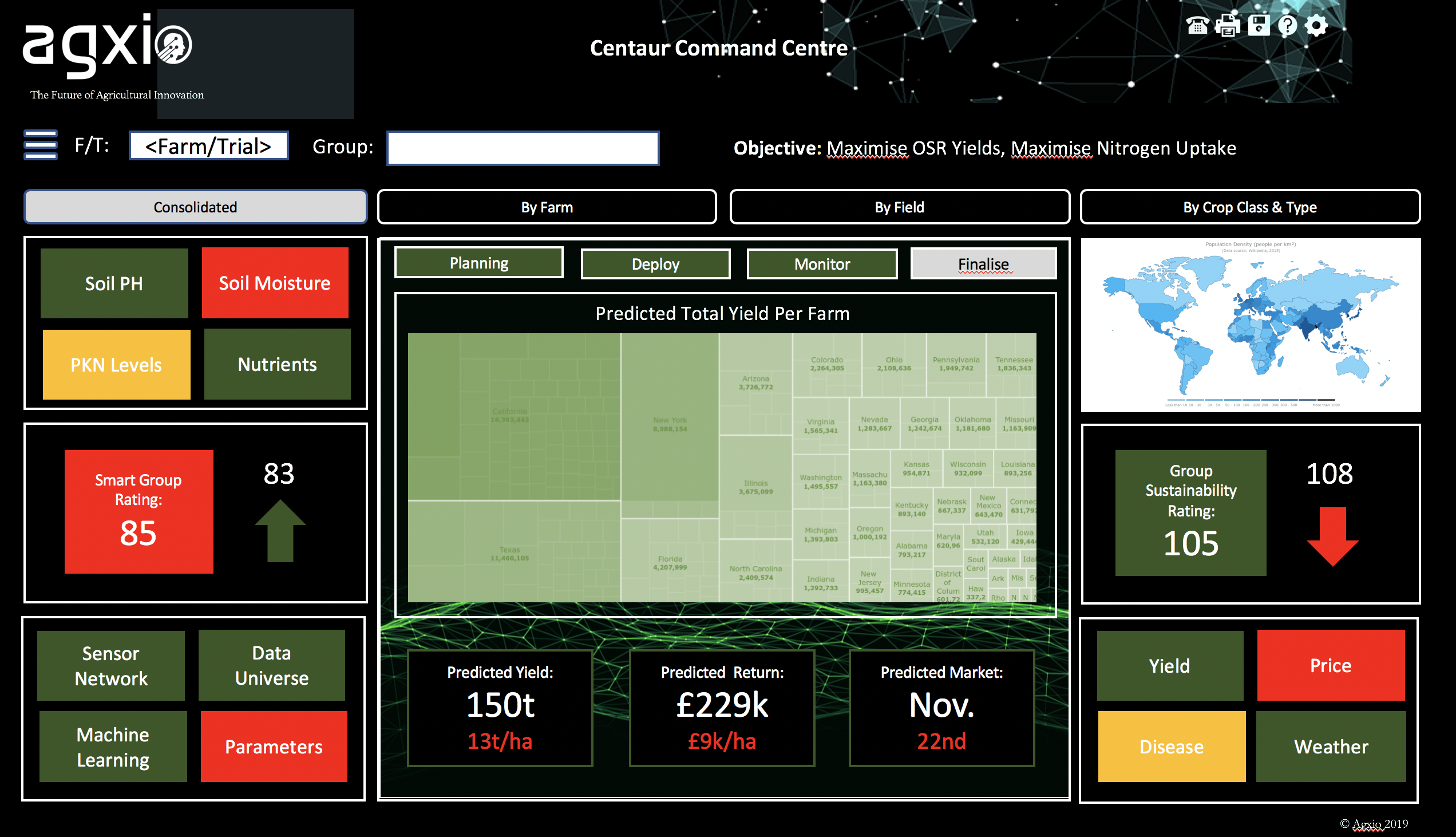 Screen of the Agxio Centaur central command platform.