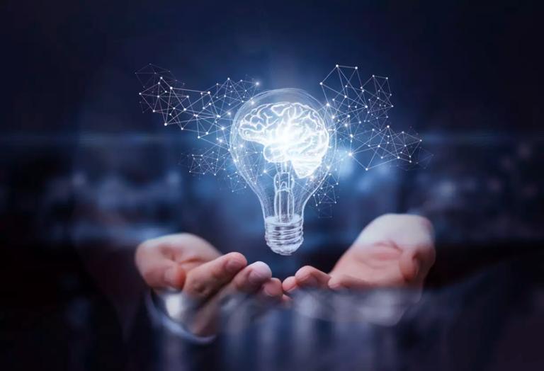 Human hands holding a lightbulb.